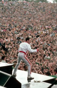 Freddie Mercury Performing for Huge Crowd